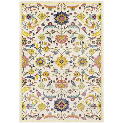 Anil Distressed Floral Mustard/Cream Area Rug Rug Size: Rectangle 52 x 76