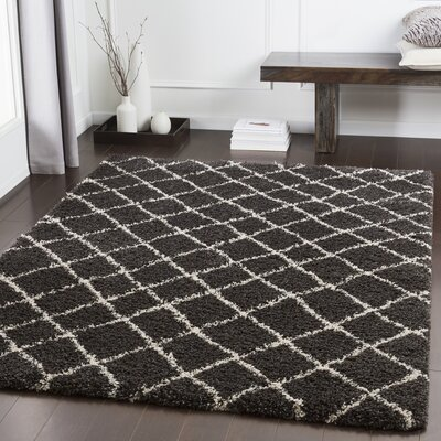 Grainger Trellis Dark Brown/Charcoal Area Rug Rug Size: Rectangle 710 x 111