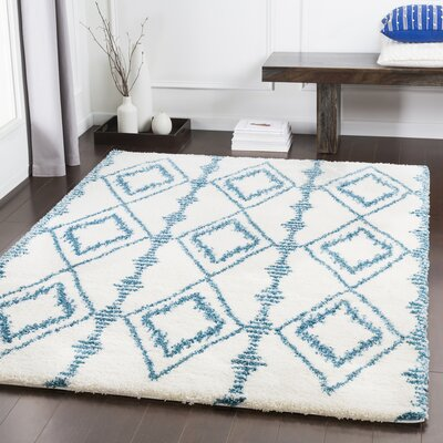 Dysart Bohemian Teal/White Area Rug Rug Size: Rectangle 53 x 76