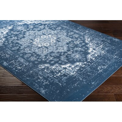 Dutil Overdyed Floral Denim/Navy Area Rug Rug Size: Rectangle 52 x 76