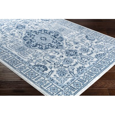 Dutil Floral Denim/Navy Area Rug Rug Size: Rectangle 52 x 76