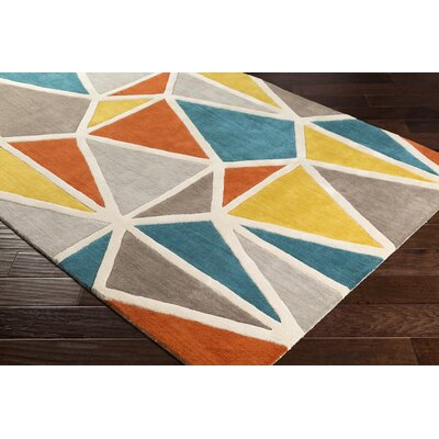 Vaughan Hand-Tufted Wool Aqua/Mustard Area Rug Rug Size: Rectangle 5 x 8
