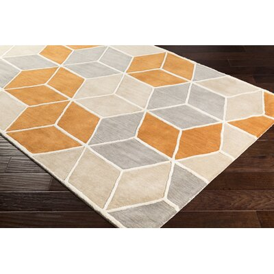 Vaughan Hand-Tufted Wool Burnt Orange/Khaki Area Rug Rug Size: Rectangle 2 x 3