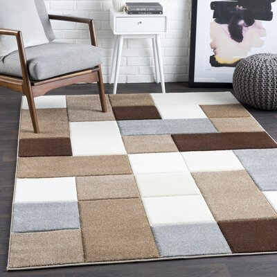 Mott Street Geometric Brown/Camel Area Rug Rug Size: Rectangle 27 x 76