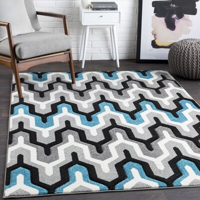 Cana Geometric Teal/Charcoal Area Rug Rug Size: Rectangle 27 x 76