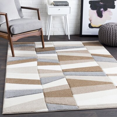 Mott Street Geometric Camel/Beige Area Rug Rug Size: Rectangle 53 x 76