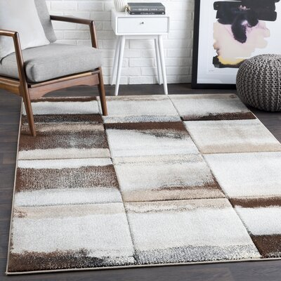 Mott Street Brown/Gray Area Rug Rug Size: Rectangle 53 x 76