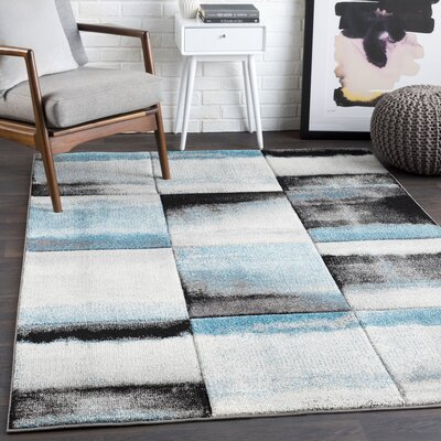 Mott Street Teal/Black Area Rug Rug Size: Rectangle 27 x 76