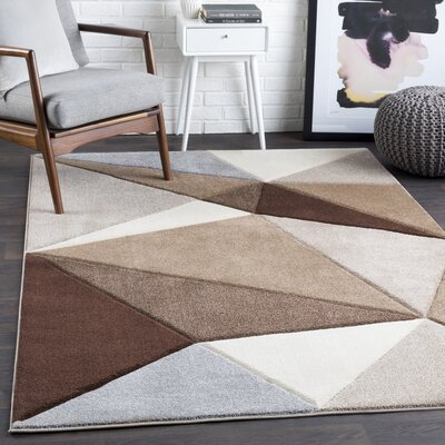 Mott Street Geometric Dark Brown/Camel Area Rug Rug Size: Rectangle 53 x 76