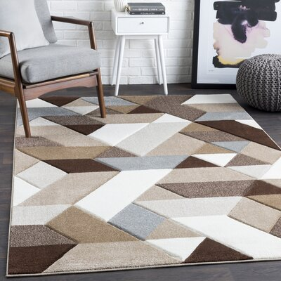 Mott Street Geometric Brown/White Area Rug Rug Size: Rectangle 53 x 76