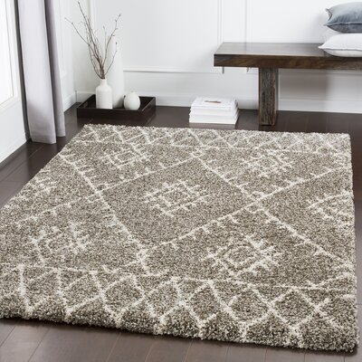 Eadie Bohemian Taupe/White Area Rug Rug Size: Rectangle 67 x 96