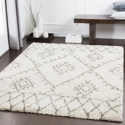 Eadie Bohemian White Area Rug Rug Size: Rectangle 53 x 73