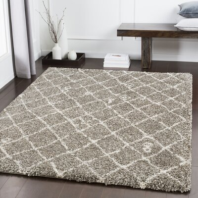 Dileo Trellis Taupe/Brown Area Rug Rug Size: Rectangle 53 x 73