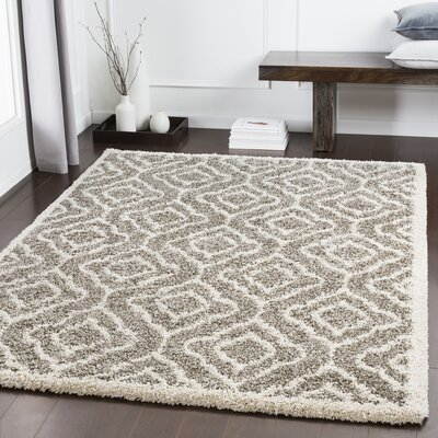 Lawing Taupe/White Area Rug Rug Size: Rectangle 53 x 73