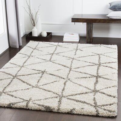 Dileo Geometric Taupe/Khaki Area Rug Rug Size: Rectangle 53 x 73
