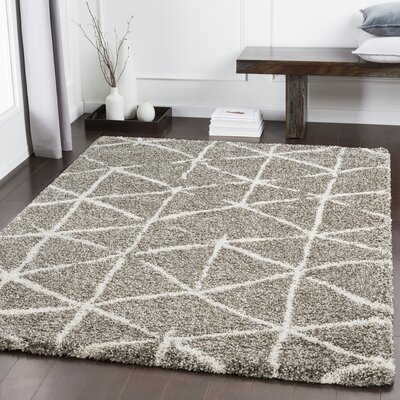Dileo Geometric Taupe/Khaki Area Rug Rug Size: Rectangle 93 x 123