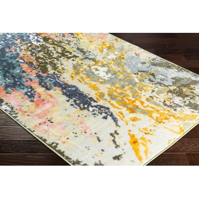 Dilbeck Abstract Orange/Saffron Area Rug Rug Size: Rectangle 53 x 73