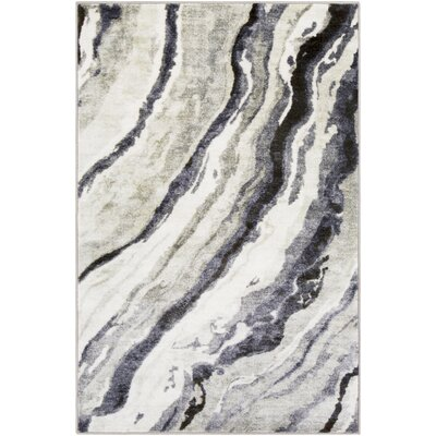 Dilbeck Abstract Gray/Black Area Rug Rug Size: Rectangle 53 x 73