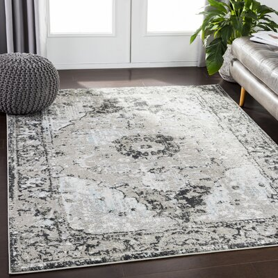 Eaglin Vintage Floral Gray/Taupe Area Rug Rug Size: Rectangle 53 x 73
