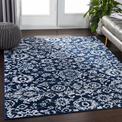 Encinas Floral Navy Area Rug Rug Size: Rectangle 53 x 73