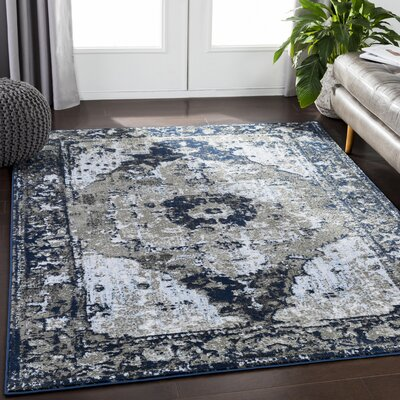 Eaglin Vintage Floral Navy/Gray Area Rug Rug Size: Rectangle 53 x 73