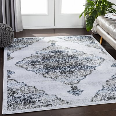 Eaglin Floral Navy/Taupe Area Rug Rug Size: Rectangle 53 x 73