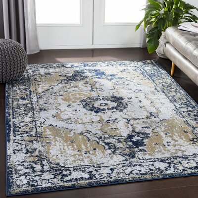 Eaglin Vintage Navy/Gray Area Rug Rug Size: Rectangle 2 x 3