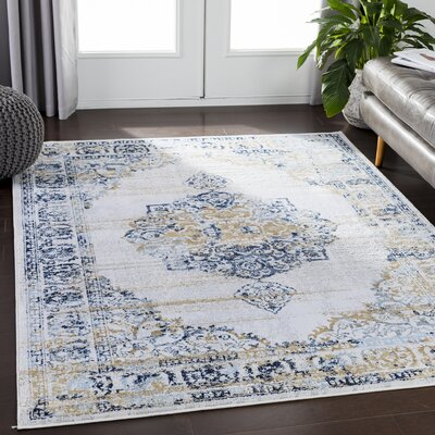 Eaglin Navy/White Area Rug Rug Size: Rectangle 53 x 73