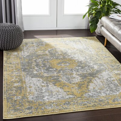 Eaglin Yellow/Gray Area Rug Rug Size: Rectangle 53 x 73