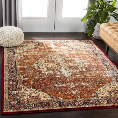 Chani Vintage Floral Orange/Red Area Rug Rug Size: Rectangle 53 x 73