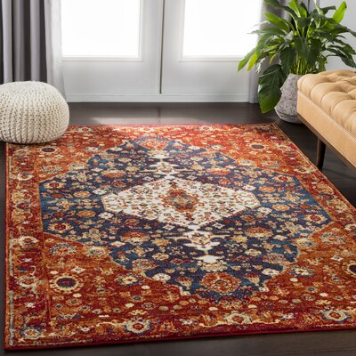 Chani Floral Red/Orange Area Rug Rug Size: Rectangle 53 x 73