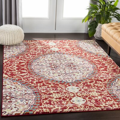 Chani Distressed Floral Red/Orange Area Rug Rug Size: Rectangle 93 x 126