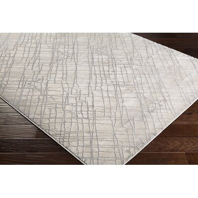 Brooks Medium Gray/Cream Area Rug Rug Size: Rectangle 53 x 76