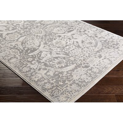 Kirtley Floral Charcoal/Cream Area Rug Rug Size: Rectangle 710 x 103
