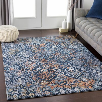 Eaker Black/Orange Area Rug Rug Size: Rectangle 68 x 96