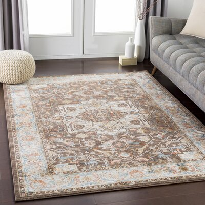 Eaker Floral Burnt Orange/Navy Area Rug Rug Size: Rectangle 9 x 13