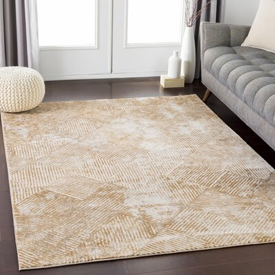 Longwell Distressed Camel/Khaki Area Rug Rug Size: Rectangle 53 x 73