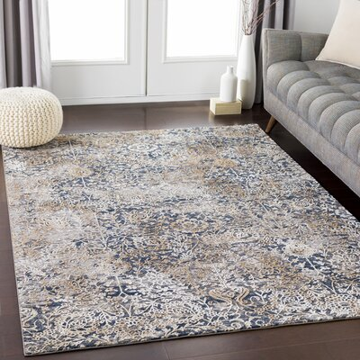 Eaker Distressed Floral Camel/Taupe Area Rug Rug Size: Rectangle 710 x 103