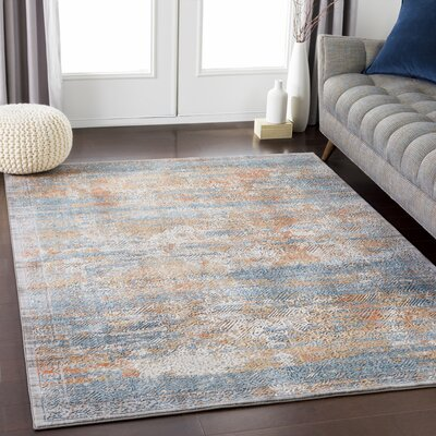 Eaker Distressed Navy/Aqua Area Rug Rug Size: Rectangle 68 x 96