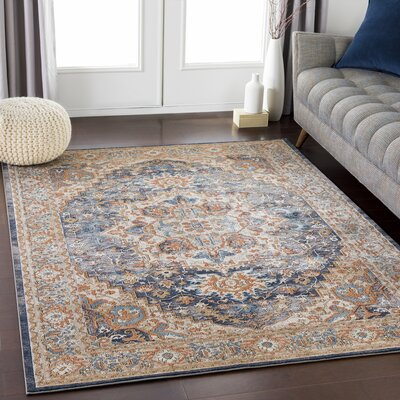 Eaker Floral Burnt Orange/Navy Area Rug Rug Size: Rectangle 2 x 3
