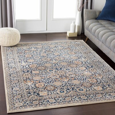 Eaker Floral Black/Camel Area Rug Rug Size: Rectangle 710 x 103