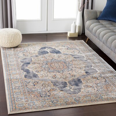 Eaker Floral Taupe/Black Area Rug Rug Size: Rectangle 710 x 103