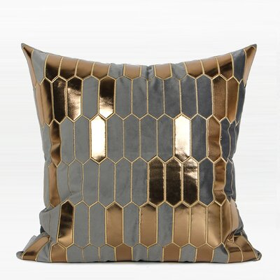 Townsend Faux Leather Embroidered Pillow Color: Gray/Gold, Fill Material: Polyester, Product Type: Throw Pillow