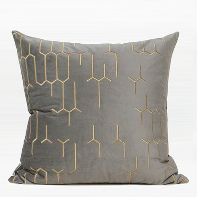 Trevethan Embroidered Geometry Pattern Throw Pillow Color: Gray/Gold, Fill Material: Down Feather, Product Type: Throw Pillow