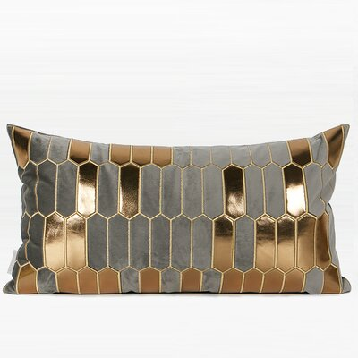 Tricia Faux Leather Embroidered Pillow Color: Gray/Gold, Fill Material: Polyester, Product Type: Throw Pillow