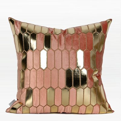 Townsend Faux Leather Embroidered Pillow Color: Pink/Gold, Fill Material: No Fill, Product Type: Pillow Cover