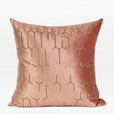 Trevethan Embroidered Geometry Pattern Pillow Color: Pink/Gold, Fill Material: Down Feather, Product Type: Throw Pillow