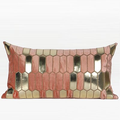 Tricia Faux Leather Embroidered Throw Pillow Color: Pink/Gold, Fill Material: No Fill, Product Type: Pillow Cover