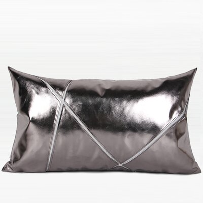 Totteridge Faux Leather Throw Pillow Color: Silver, Fill Material: No Fill, Product Type: Pillow Cover