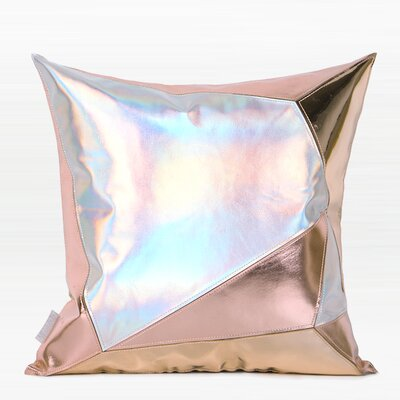Cade Three Color Faux Leather Pillow Color: Pink/Silver, Fill Material: Down Feather, Product Type: Throw Pillow